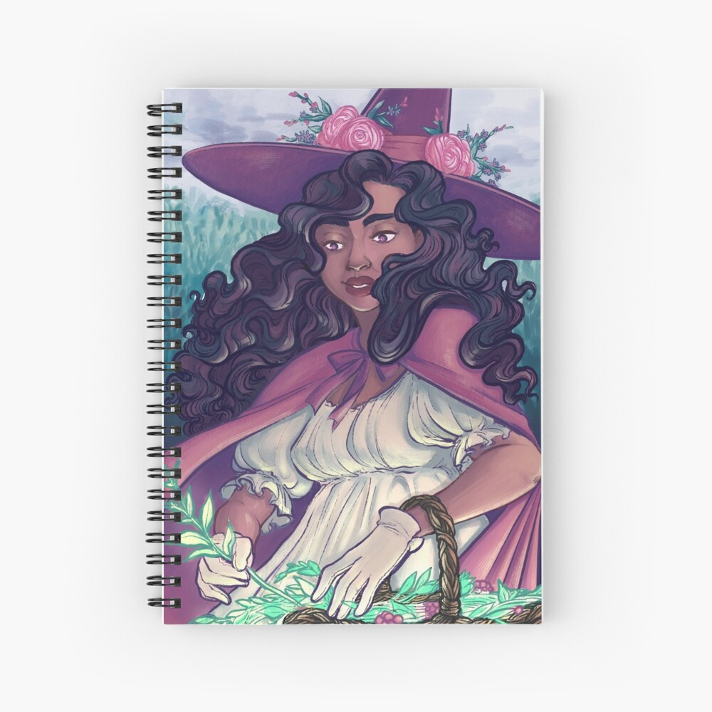 Spring Witch Collecting Herbs Spiral Notebook