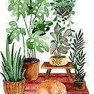 «Lindo gato y plantas verdes.» de JuliaBadeeva