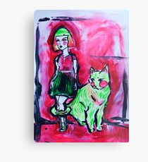 Neon Cat and Space Girl Metal Print