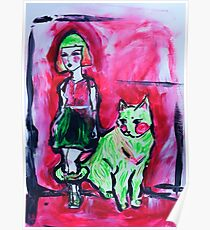 Neon Cat and Space Girl Poster