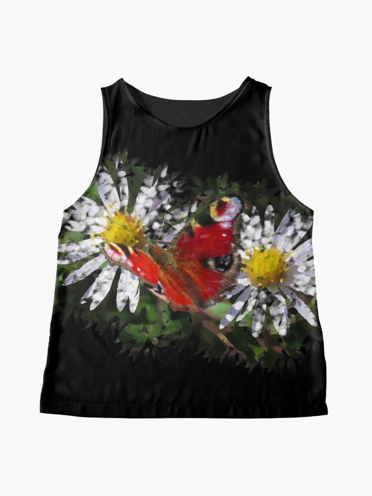 Alternative Ansicht von zwei Gänseblümchen mit einem Schmetterling Ärmelloses Top
