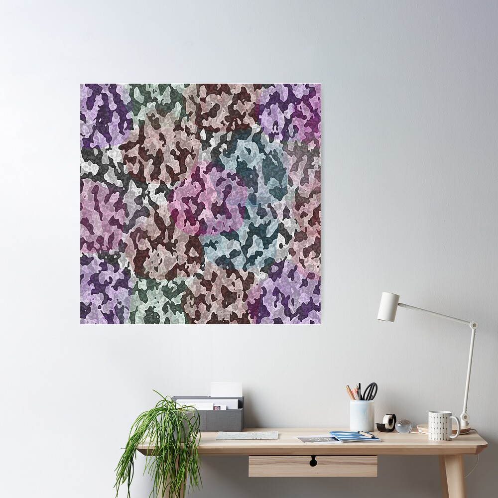 Pastel Animal Camouflage Purple Green and Pink Poster