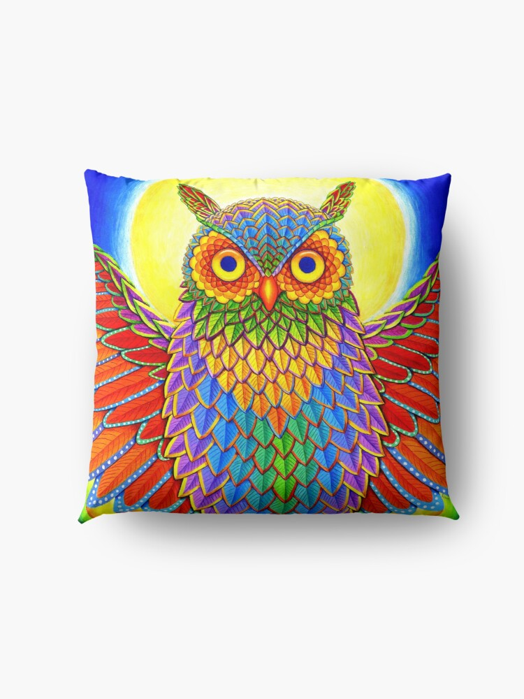 Alternate view of Colorful Psychedelic Rainbow Owl Floor Pillow
