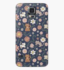 Flower Meower (Navy) Case/Skin for Samsung Galaxy