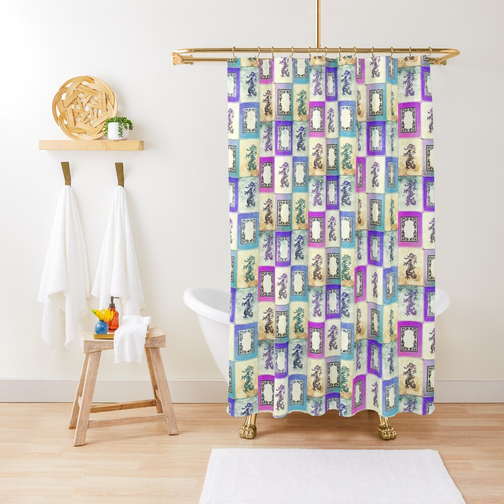 """Dragon Lady"" Mah Jongg - version two Shower Curtain"