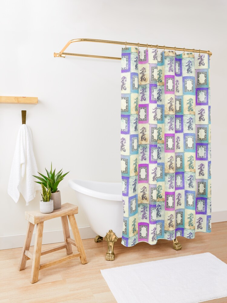 "Alternate view of ""Dragon Lady"" Mah Jongg - version two Shower Curtain"
