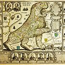 Rare old map of the Netherlands in the shape of a lion from 1600 by Glimmersmith