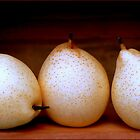 Three Pretty Pears in a Wooden Box by paintingsheep