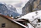 Log cabins and Chalets, Lauterbrunnen, Switzerland by David Carton