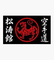 Shotokan Symbol und Kandschi auf dem weißen Text der Seiten Fotodruck