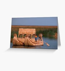 Floating Reed Island, Lake Titicaca, Peru Greeting Card