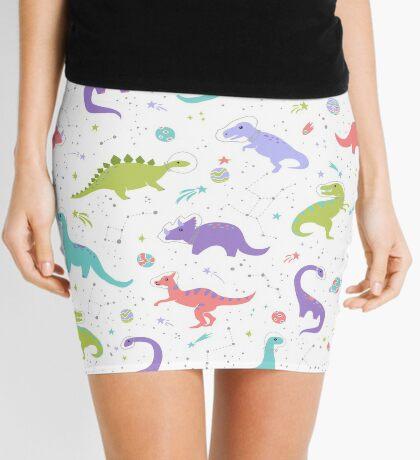 Space Dinosaurs on White Mini Skirt
