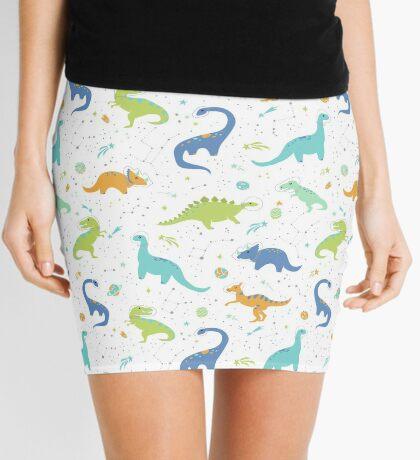 Space Dinosaurs on White (Orange + Blue) Mini Skirt