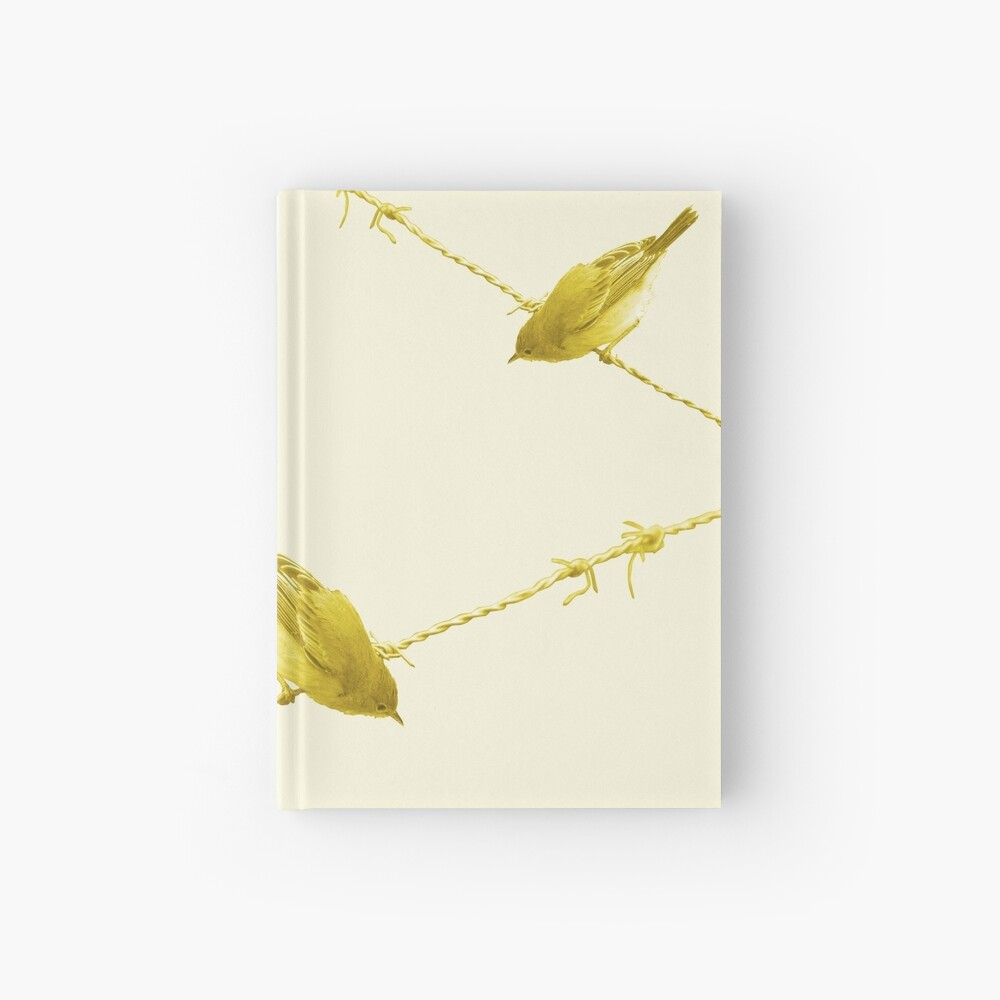Monochrome - Yellow warblers on the wire Hardcover Journal