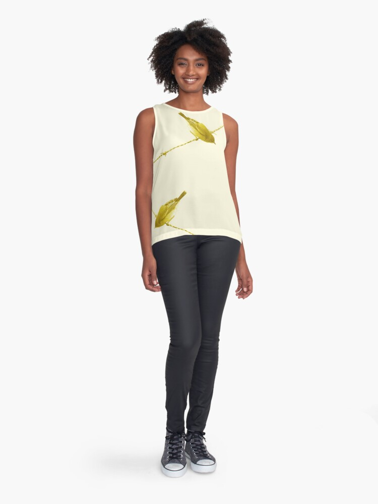 Alternate view of Monochrome - Yellow warblers on the wire Sleeveless Top