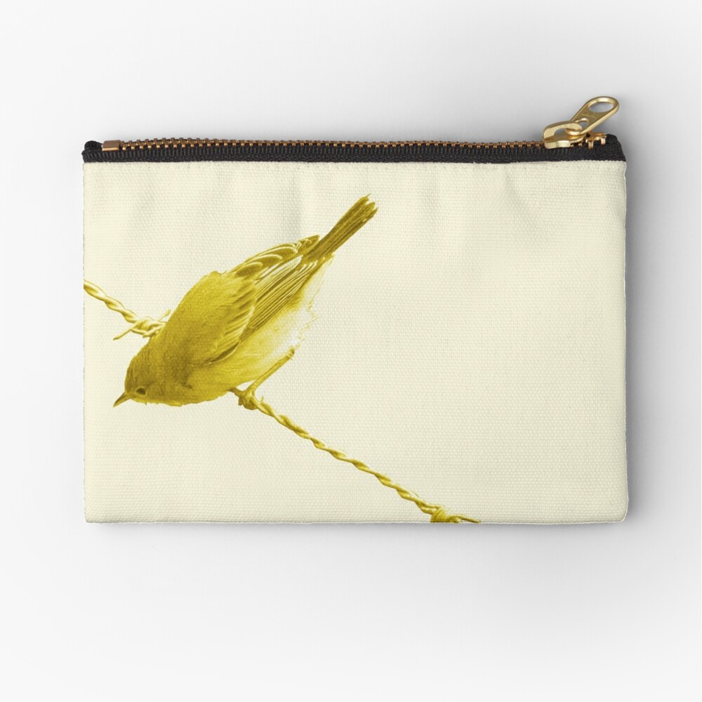 Monochrome - Yellow warblers on the wire Zipper Pouch
