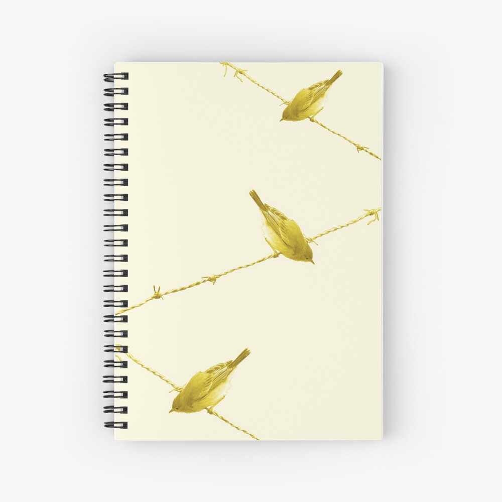 Monochrome - Yellow warblers on the wire Spiral Notebook