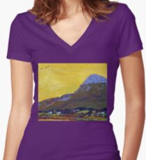 Croagh Patrick, Mayo Women's Fitted V-Neck T-Shirt