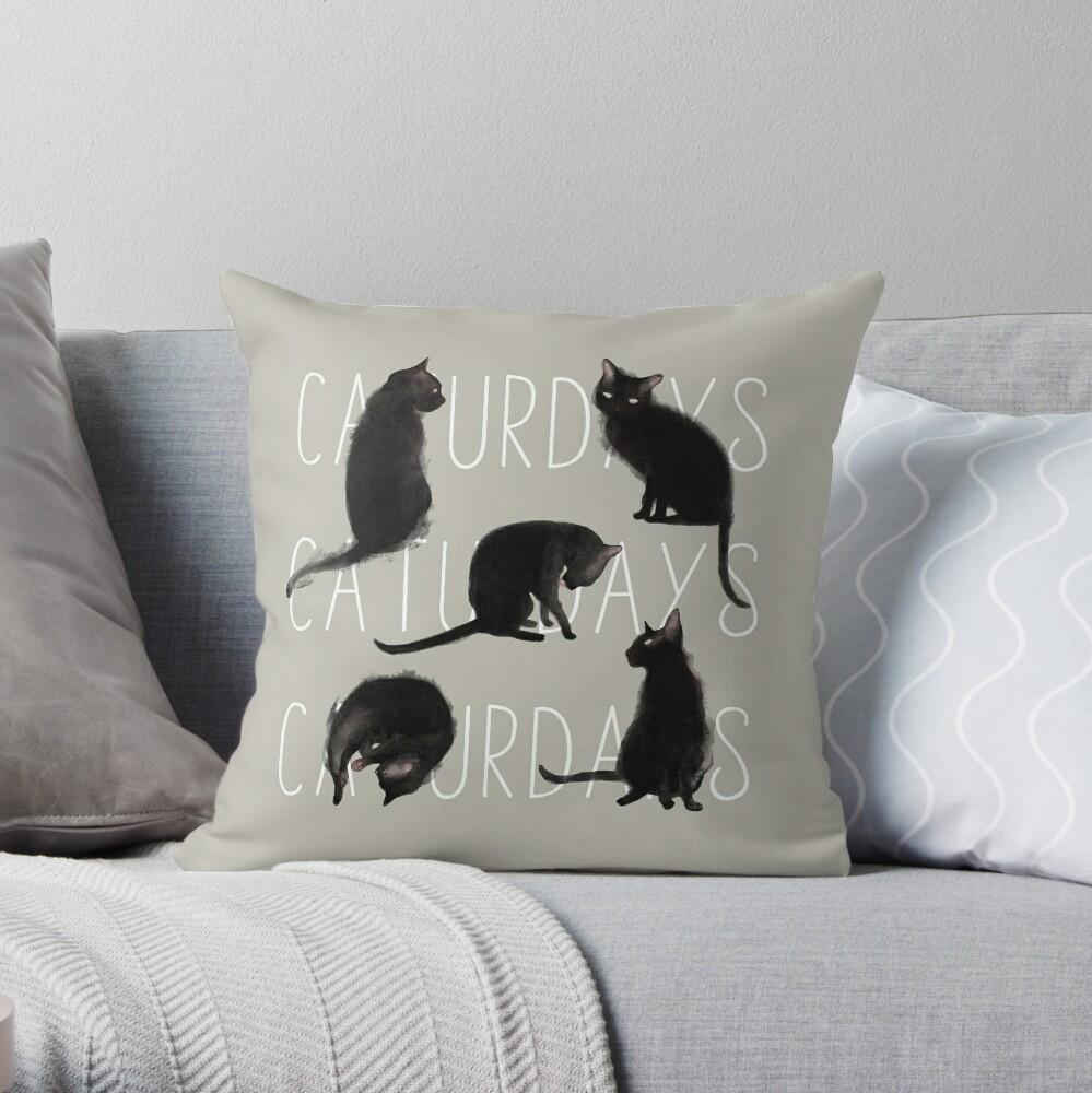 Caturdays - Black Cat Throw Pillow