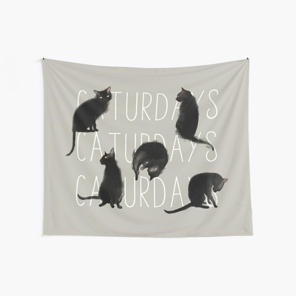 Caturdays - Black Cat Wall Tapestry
