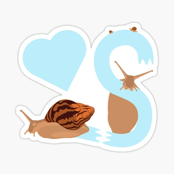 Pet snail with heart and letter S Sticker