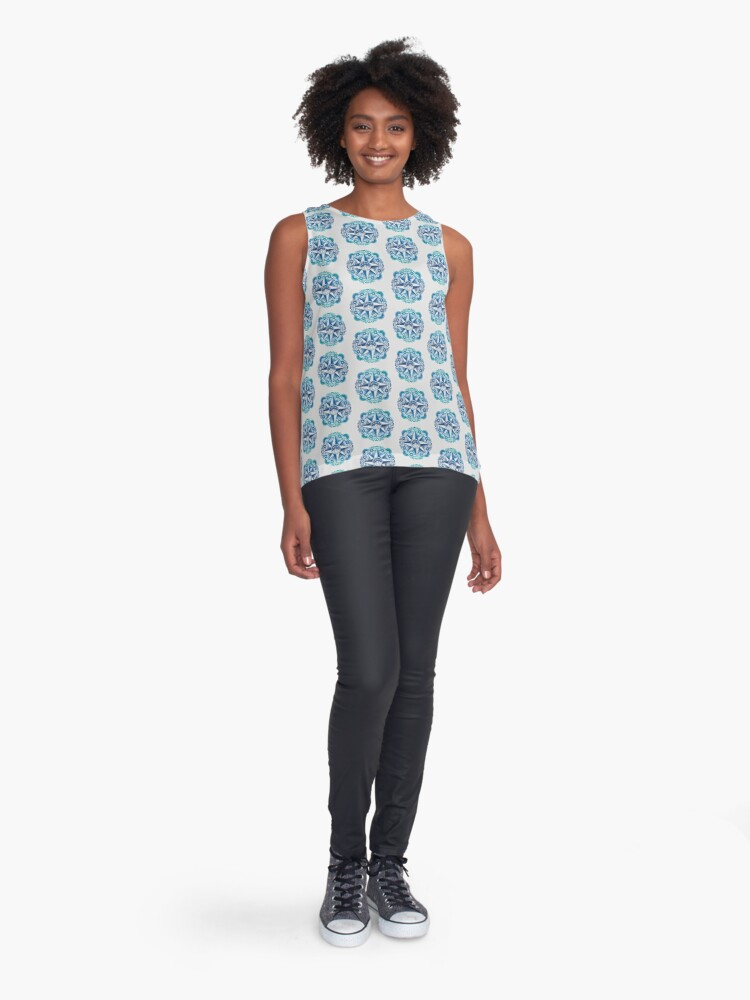 Alternate view of Journey to Moon Mountain | Turquoise Navy Ombré Sleeveless Top