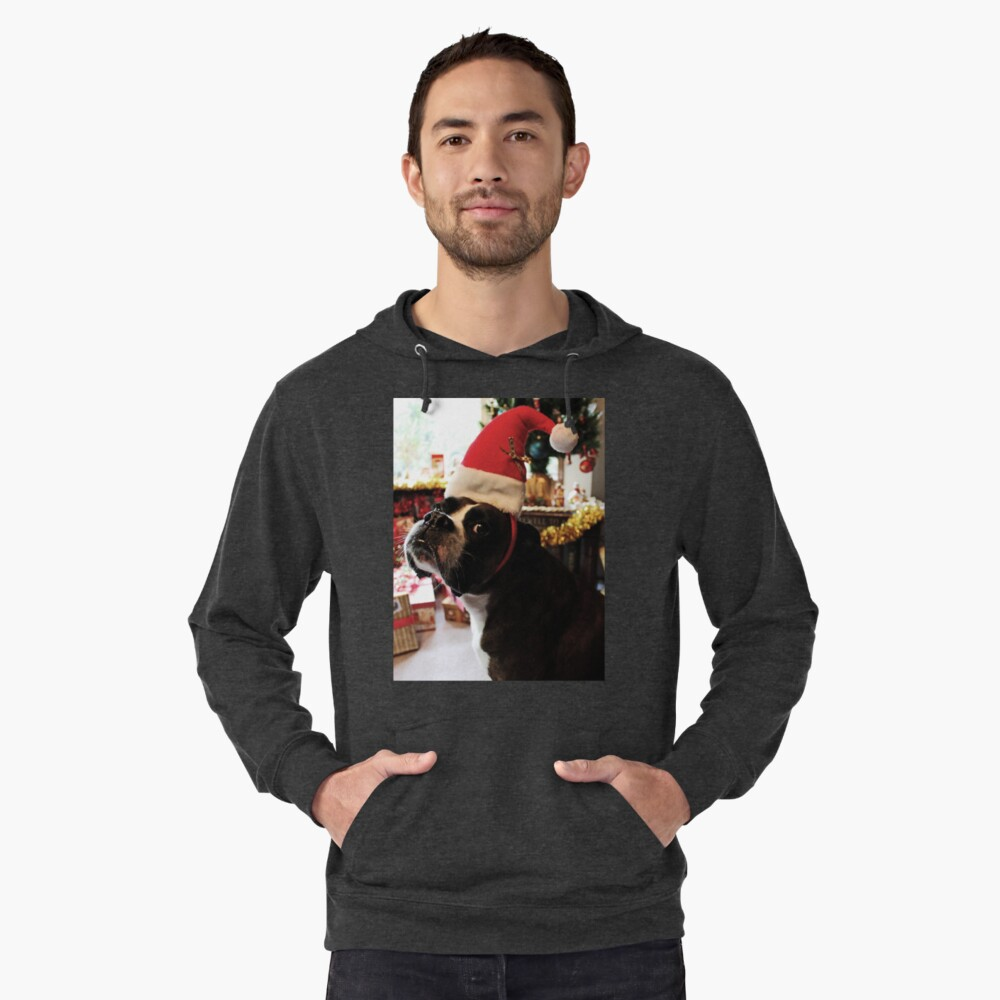 Arwen on Christmas Day  -Boxer Dogs Series- Lightweight Hoodie Front