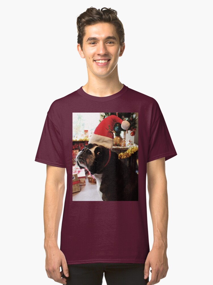 Arwen on Christmas Day  -Boxer Dogs Series- Classic T-Shirt Front