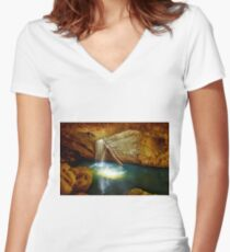 Beautiful Waterfall Women's Fitted V-Neck T-Shirt