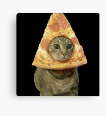 Cat with Pizza Head Canvas Print