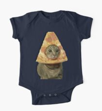 Cat with Pizza Head One Piece - Short Sleeve