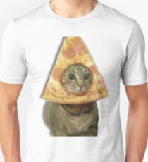 Cat with Pizza Head Unisex T-Shirt