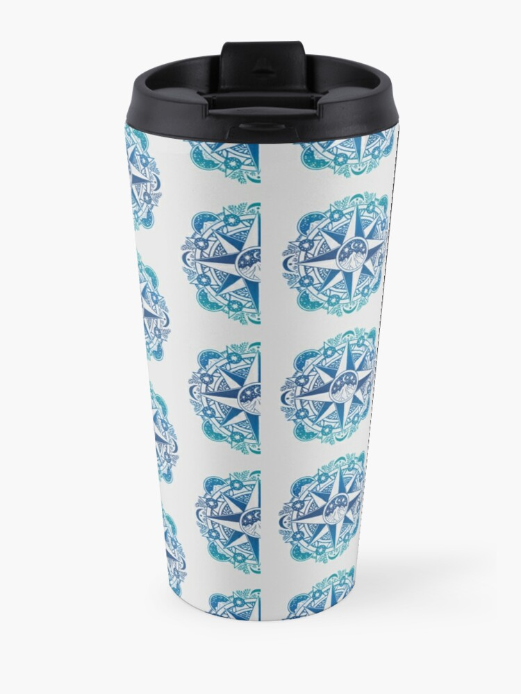 Alternate view of Journey to Moon Mountain   Turquoise Navy Ombré Travel Mug