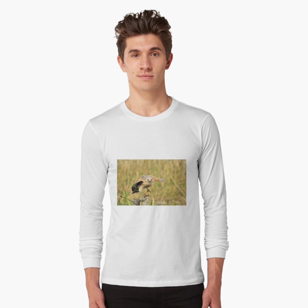 Red Shoulder Hawk Taking Flight Long Sleeve T-Shirt Front