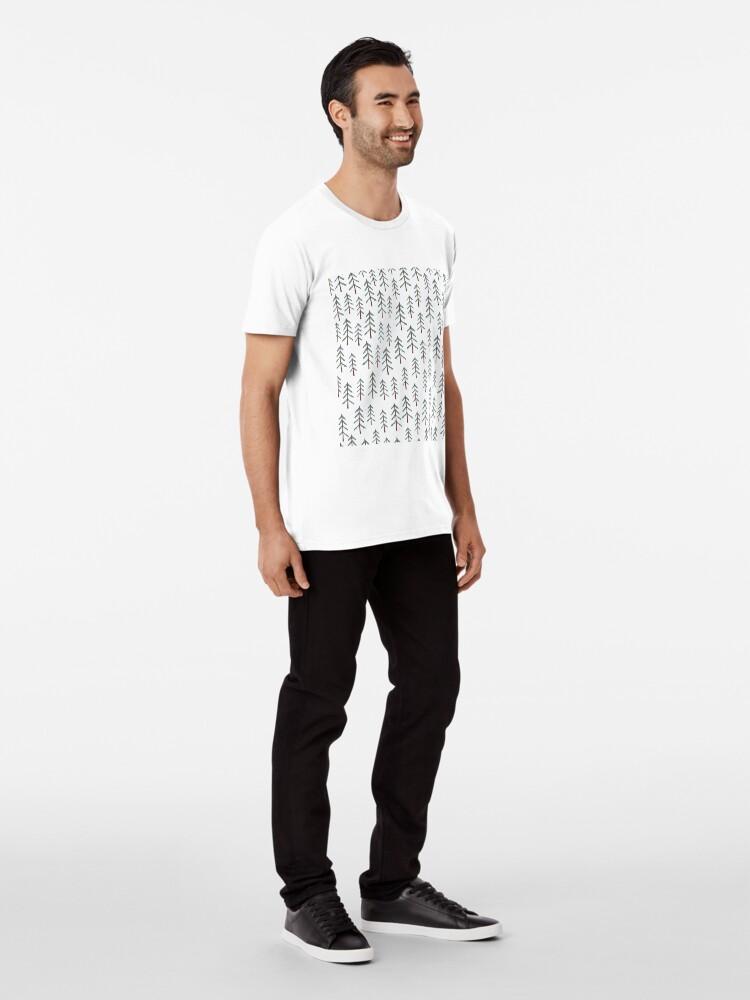 Alternate view of Fir tree doodle wood  Premium T-Shirt