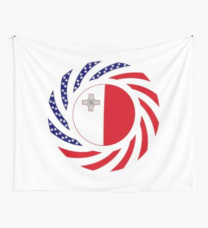 Maltese American Multinational Patriot Flag Series Wall Tapestry