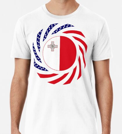 Maltese American Multinational Patriot Flag Series Premium T-Shirt