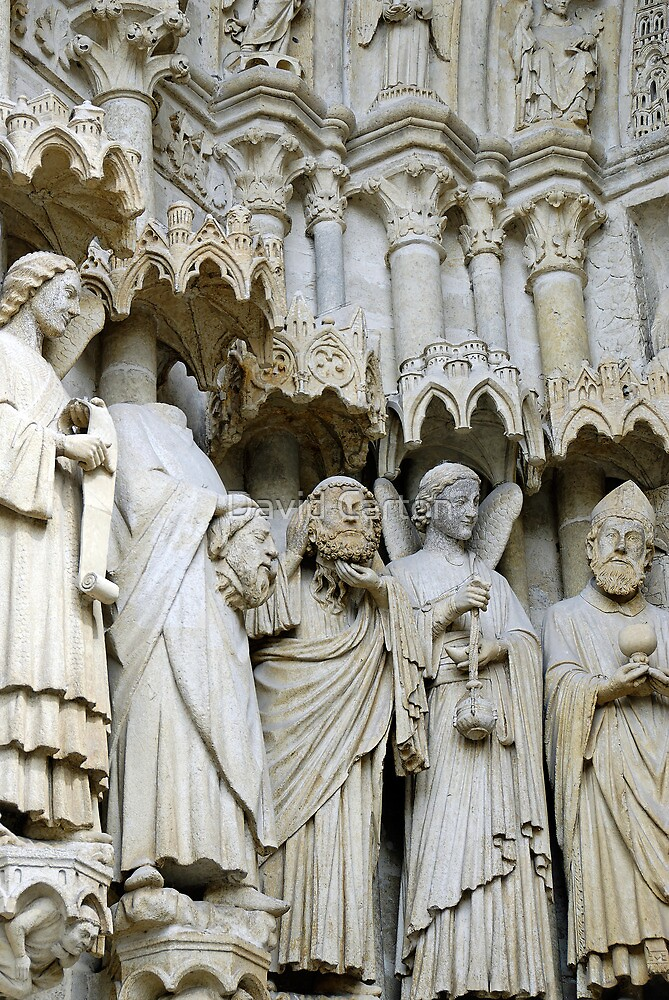Statues, exterior, Amiens cathedral, France by David Carton
