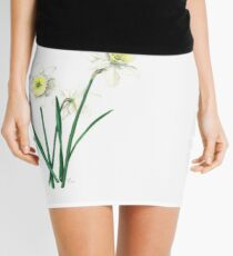 "White Daffodils - ""Ice Follies"" Botanical Illustration Mini Skirt"