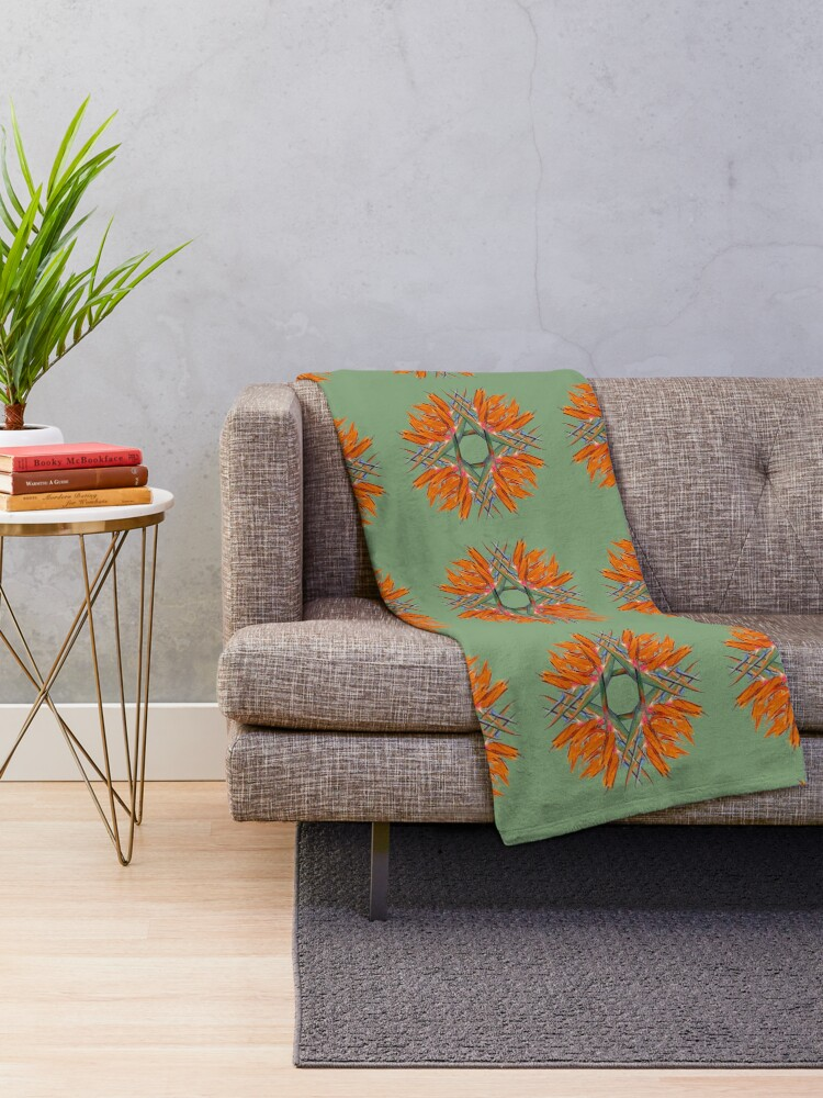 Alternate view of Bird of Paradise Flower Design for Duvets, tights, tops and bags Throw Blanket