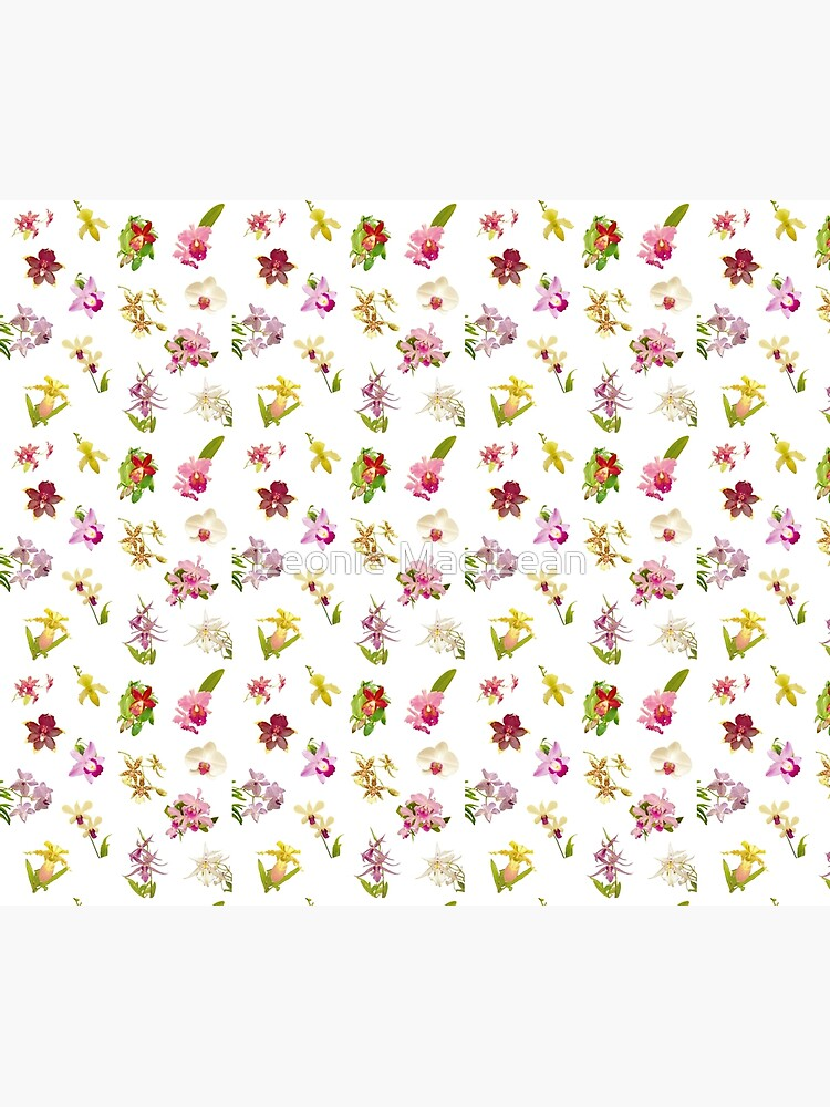 Orchids on White Repeat Pattern by yallmia