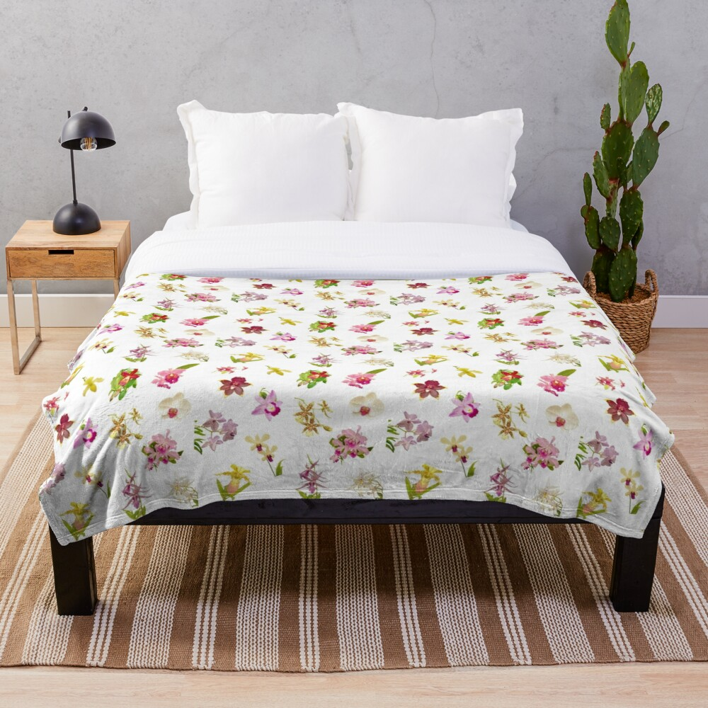 Orchids on White Repeat Pattern Throw Blanket