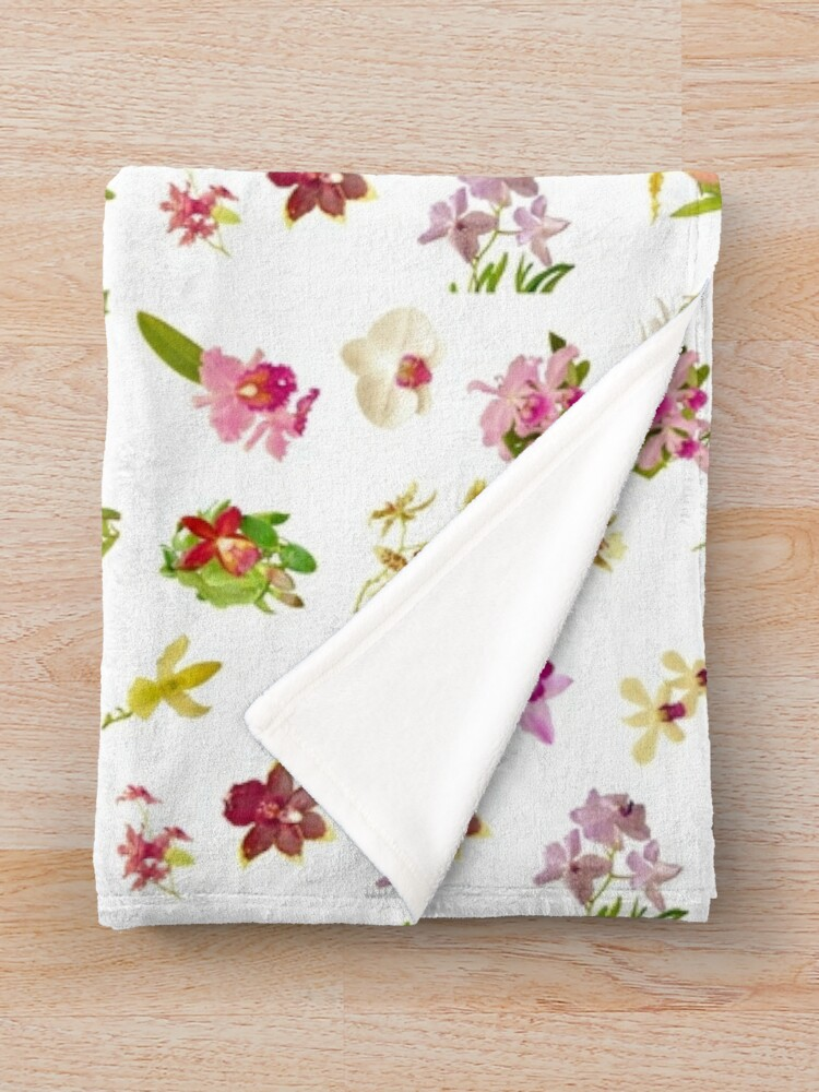 Alternate view of Orchids on White Repeat Pattern Throw Blanket