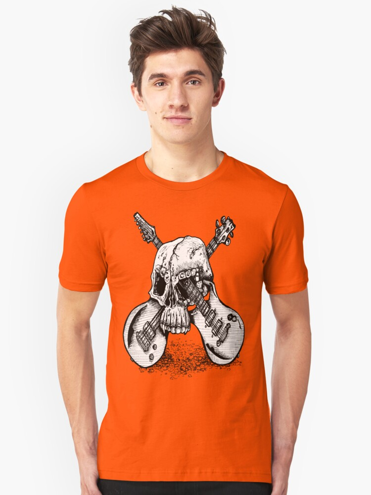 Skull and crossed guitars Unisex T-Shirt Front