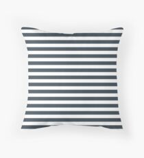 Charcoal Gray and White Horizontal Stripes Floor Pillow