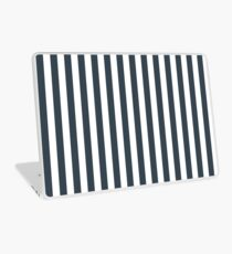 Charcoal Gray and White Vertical Stripes Laptop Skin
