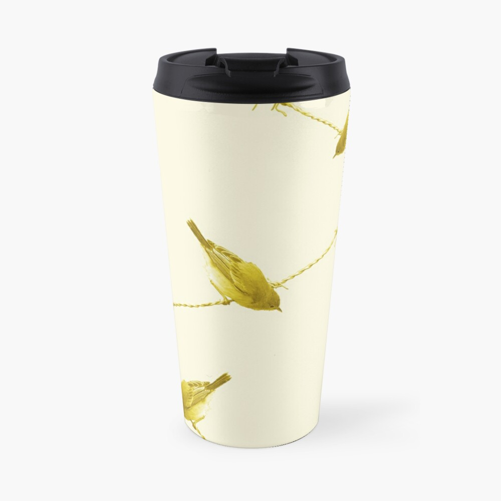 Monochrome - Yellow warblers on the wire Travel Mug
