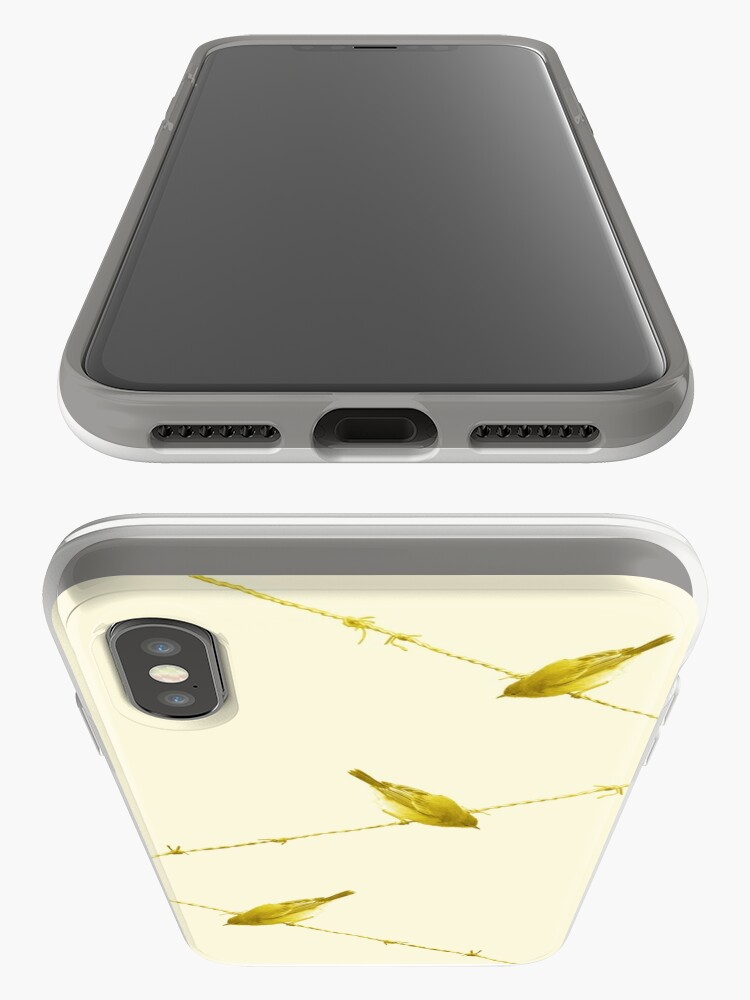 Alternate view of Monochrome - Yellow warblers on the wire iPhone Case & Cover