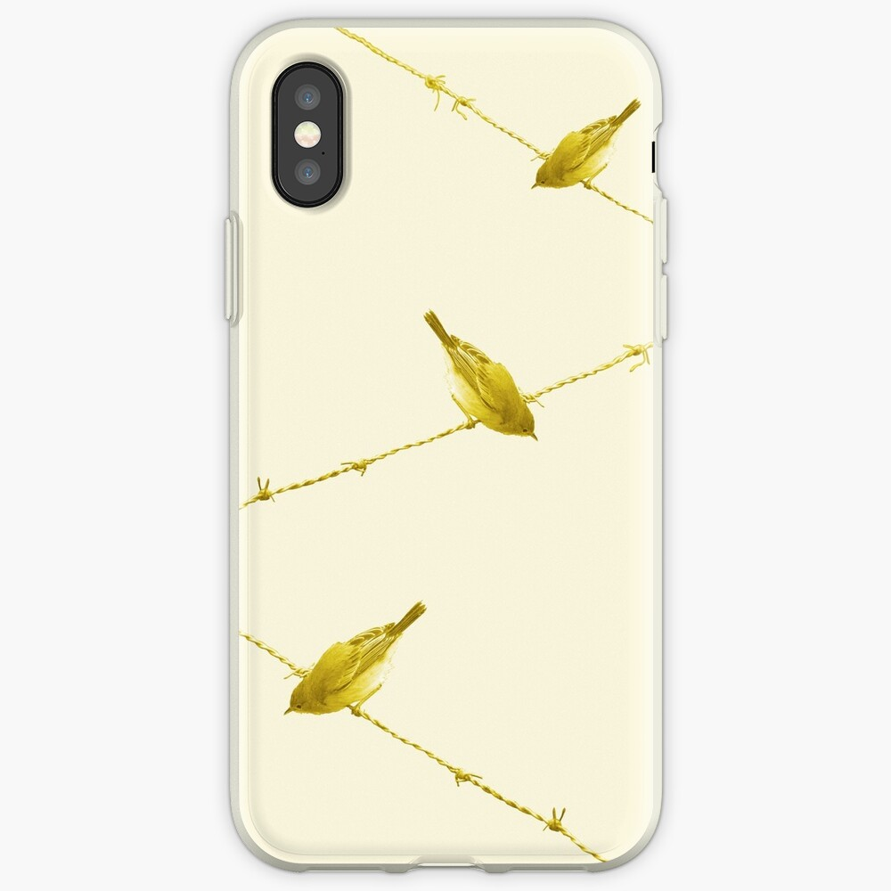 Monochrome - Yellow warblers on the wire iPhone Case & Cover