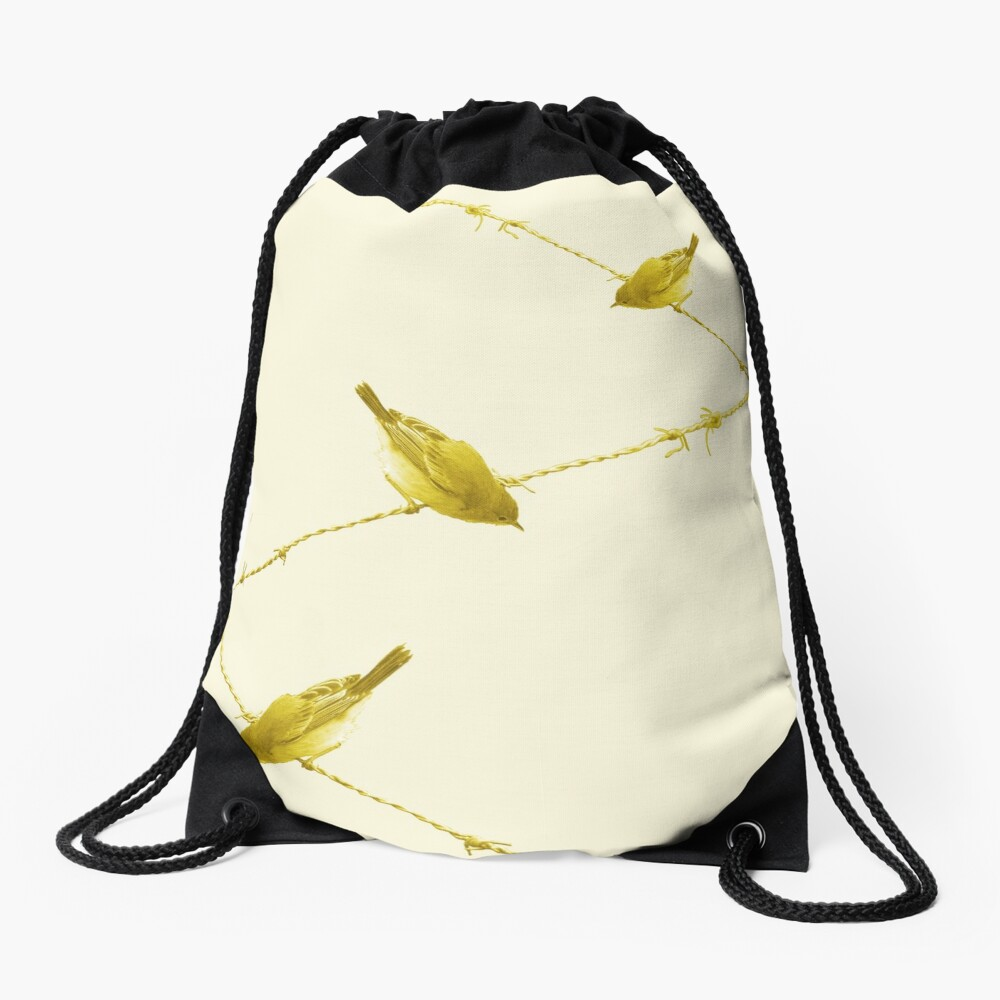 Monochrome - Yellow warblers on the wire Drawstring Bag